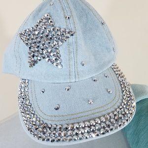Denim baseball cap / hat with bling star. NwT